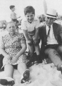 Hyman and Celia Nevins with their grandson (and my father) Michael at Coney Island, circa 1941.